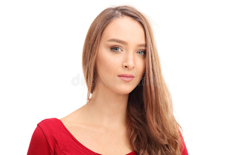 Portrait of a beautiful young brunette woman royalty free stock images