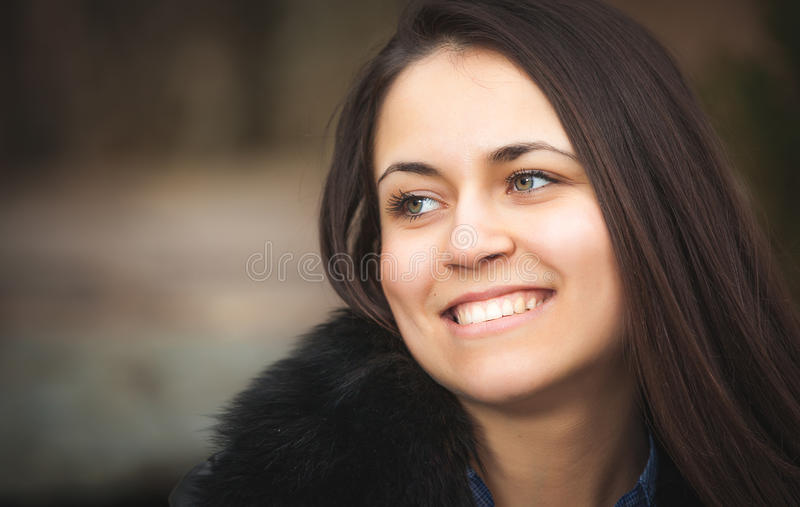 Portrait of beautiful young brunette woman stock image