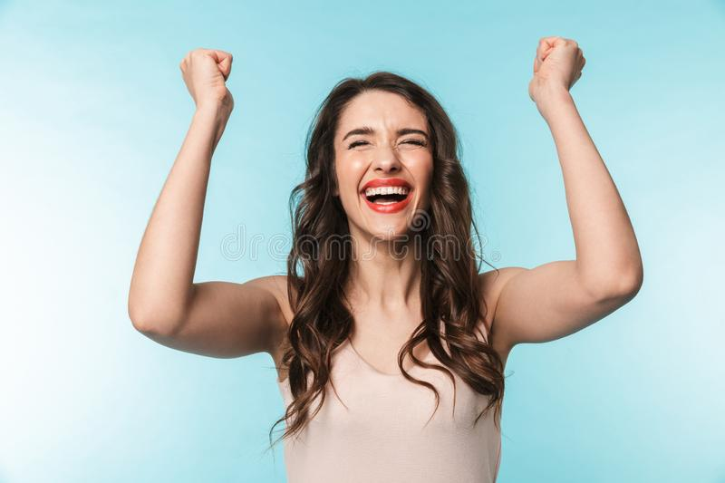 Portrait of a beautiful young brunette woman standing stock photos