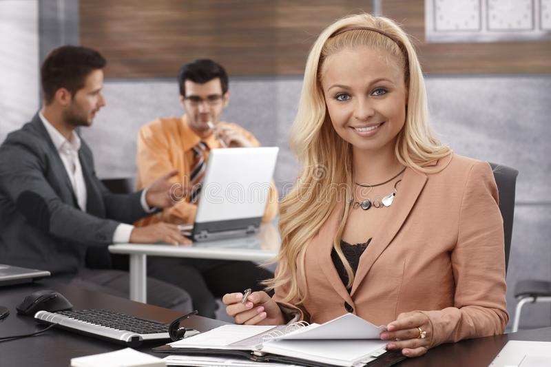Portrait of beautiful young businesswoman stock photos