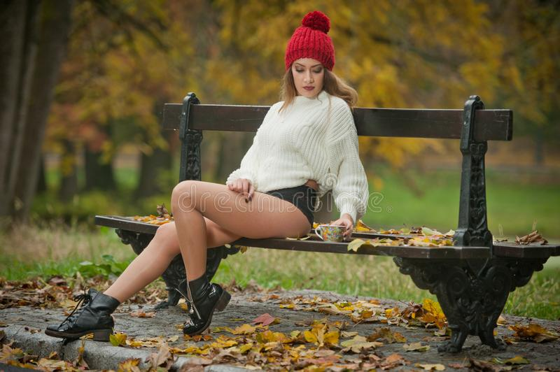 Portrait of a beautiful young Caucasian sensual woman with a red cap ,white pullover and black boots in autumn park stock photos