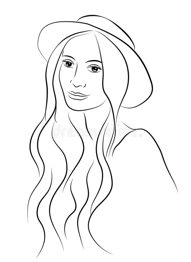 Portrait of beautiful young charismatic woman in hat. Sketch hand drawn style. Line illustration. royalty free illustration