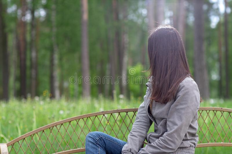 Portrait of the young european girl, outdoors stock photography