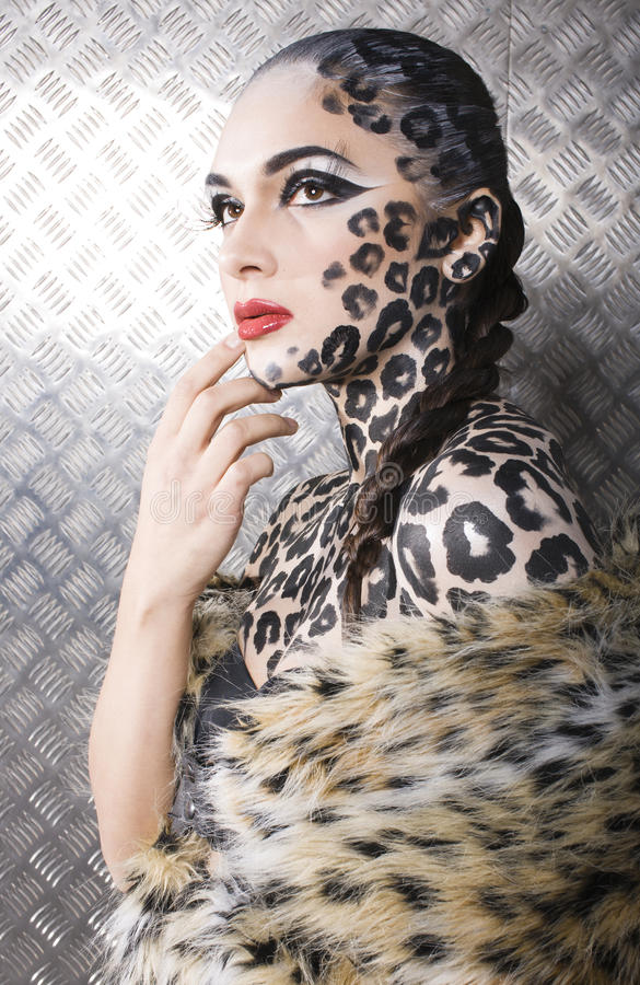 Portrait Of Beautiful Young European Model In Cat Make-up And Bodyart Royalty Free Stock Image