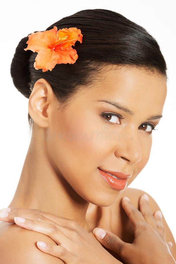 Portrait of beautiful young exotic woman stock images
