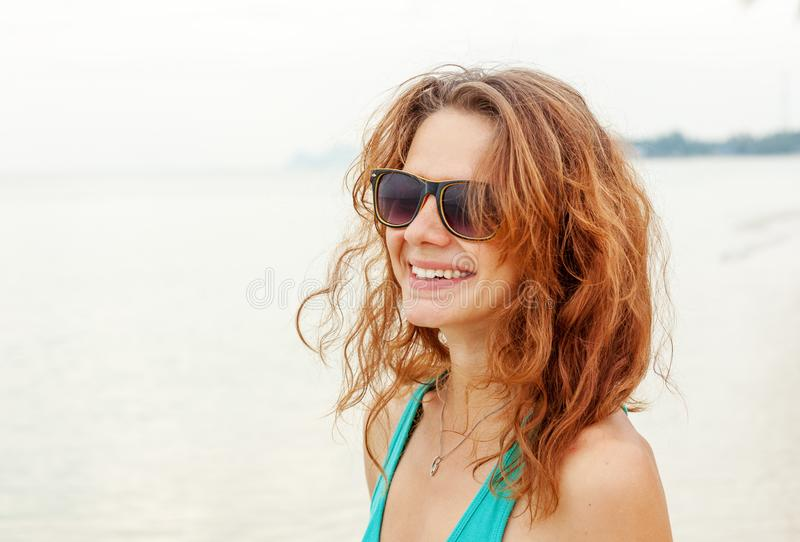 Portrait of a beautiful young funny woman girl in sunglasses royalty free stock photos