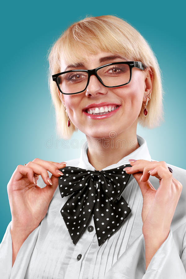 Portrait Of Beautiful Young Girl With Black Bow Ti Stock Photography
