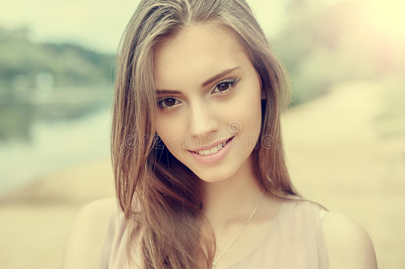 Portrait of beautiful young girl with clean skin and pretty face stock images