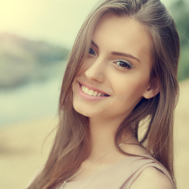 Portrait of beautiful young girl with clean skin and pretty face royalty free stock images