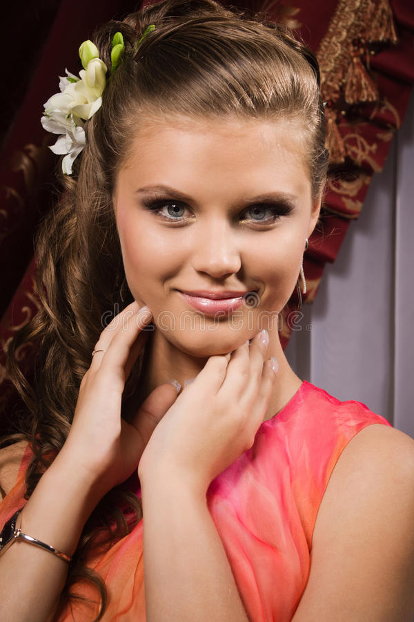 Portrait of the beautiful young girl royalty free stock images