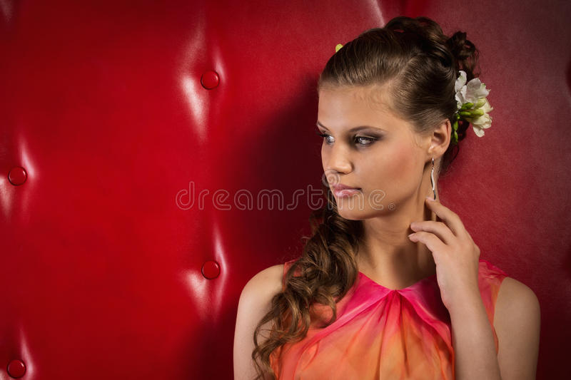 Portrait of the beautiful young girl stock images