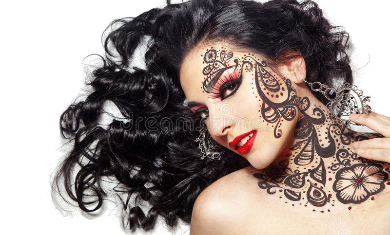 Beautiful girl with body art stock image