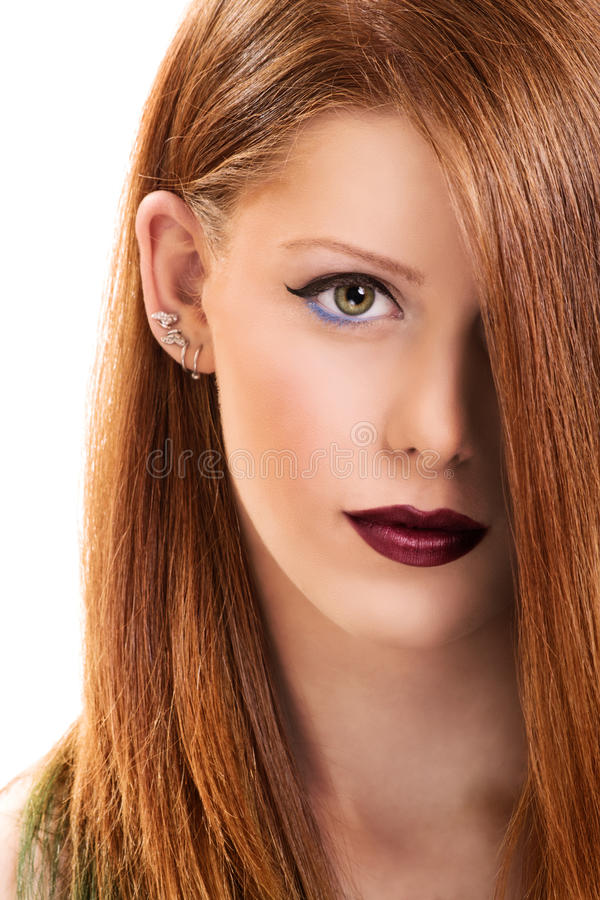 Portrait of a beautiful young girl with make up stock photography