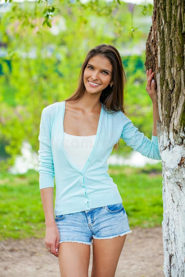 Happy brunette woman stock photography