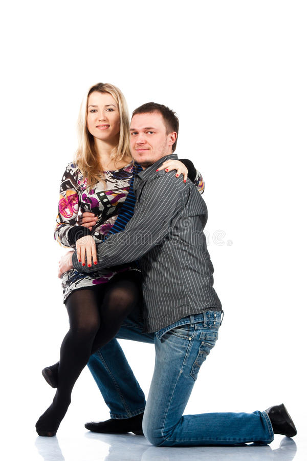 Portrait of a beautiful young happy couple royalty free stock photos