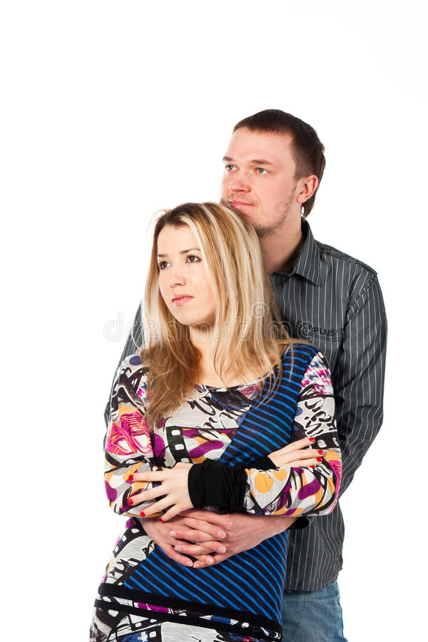 Portrait of a beautiful young happy smiling couple stock image