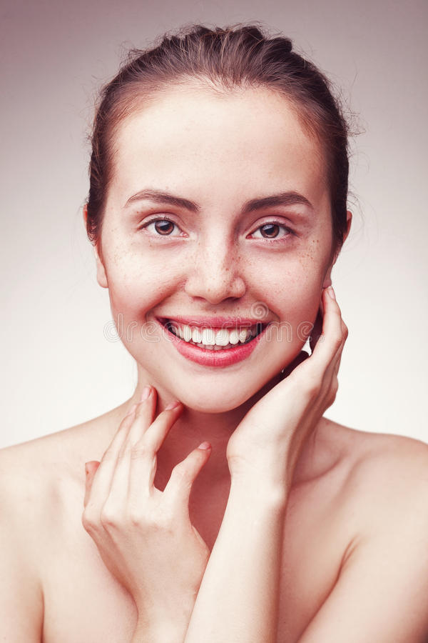 Portrait of beautiful young happy smiling woman royalty free stock photos