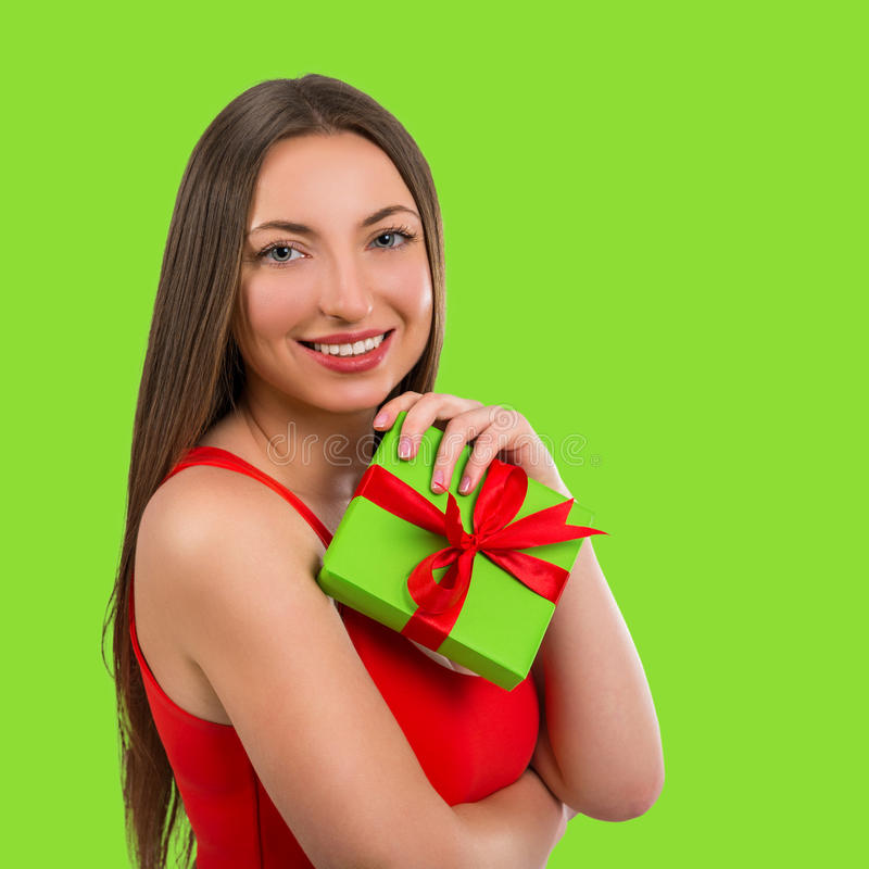 Download Portrait Of A Beautiful Young Happy Woman With A Gift Stock Photo - Image: 83713509