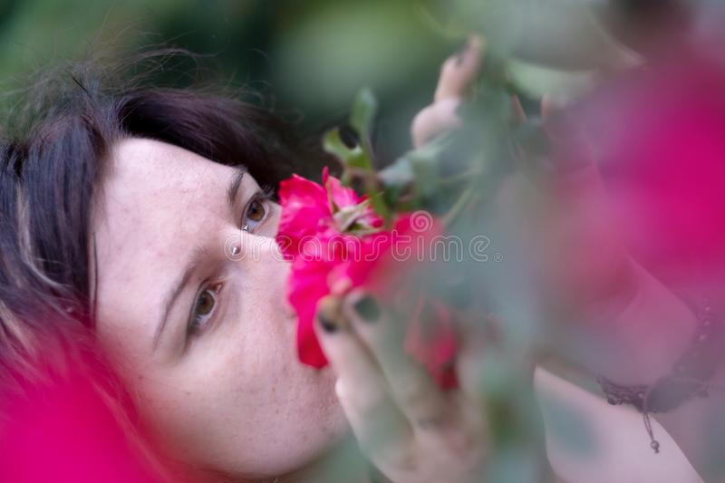 Portrait of a beautiful young individual, eccentric dark-haired woman, her nose stuck deep in fragrant red roses stock photo