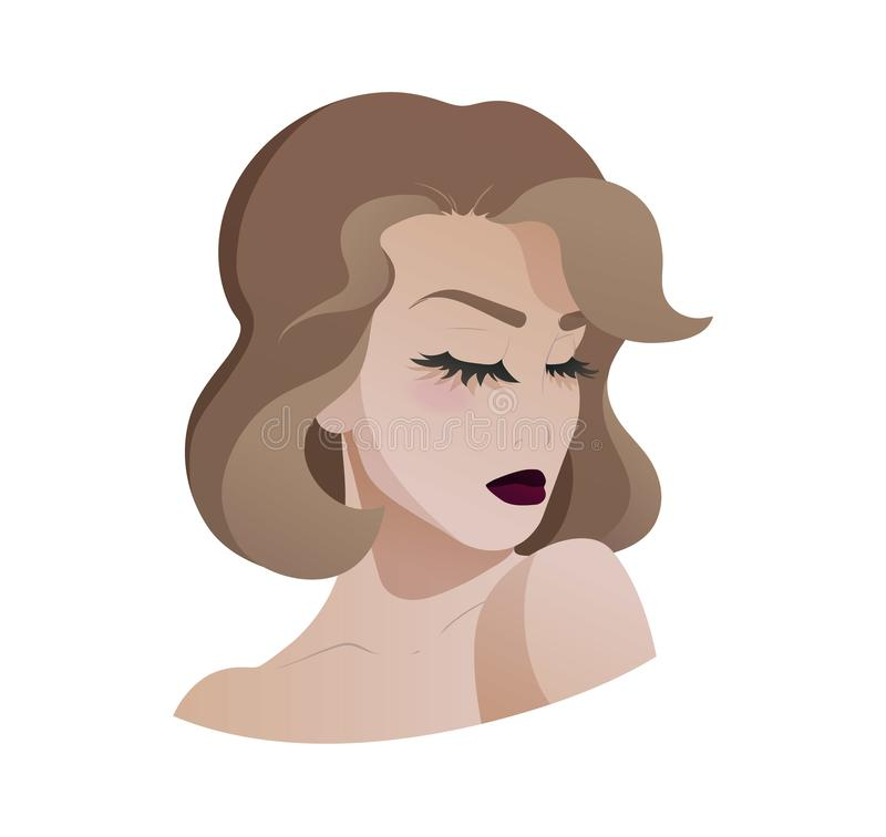 Portrait of beautiful young lady, quarter view. Portrait of beautiful young lady, who raises her shoulder to her chin and closed her eyes, quarter view. Vector vector illustration