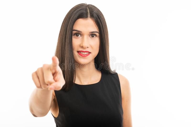 Portrait of beautiful young lawyer posing pointing camera stock images