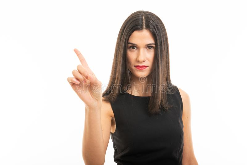 Portrait of beautiful young lawyer posing showing denial gesture royalty free stock image