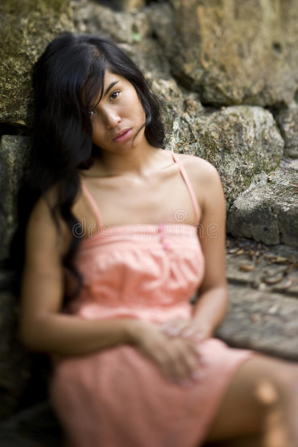 Portrait of beautiful young Pacific Islander woman stock image