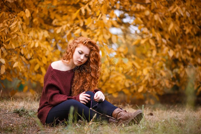 Portrait of a beautiful young red-haired woman on the background of autumn landscape royalty free stock images