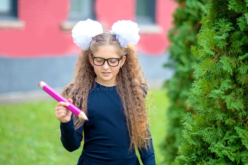 Portrait of a beautiful young Schoolgirl. Farewell Bell. day of knowledge. beginning of the school year stock photos