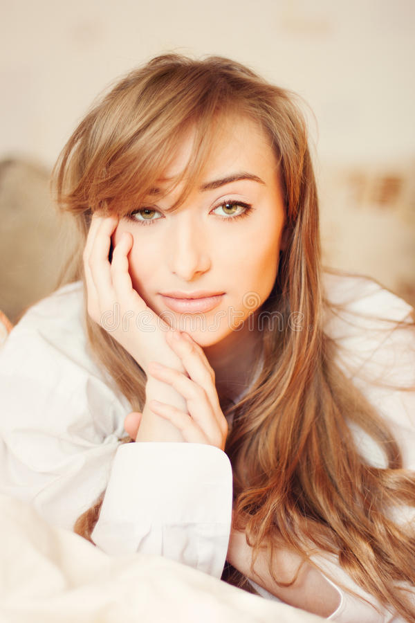 Portrait of beautiful young woman stock images