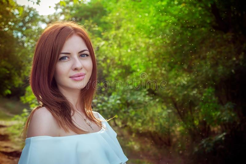 Portrait of beautiful young smiling woman stock images