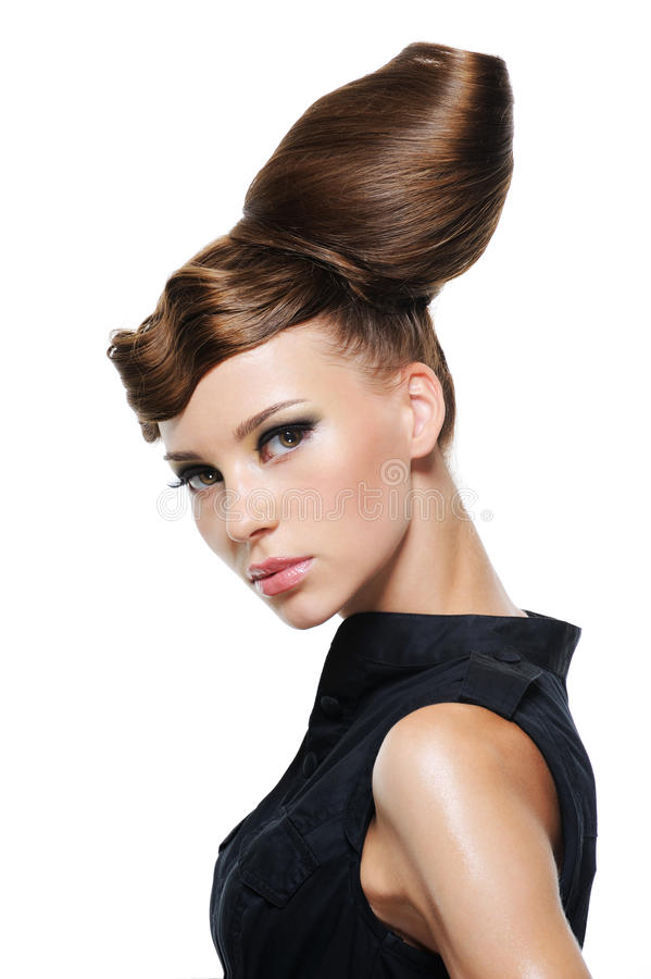 Portrait of beautiful young woman. With creative fashion hairstyle stock image