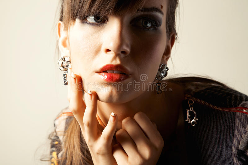 Portrait a beautiful young woman stock images