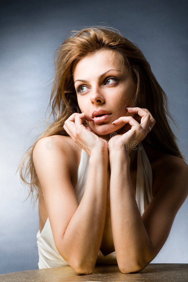 Portrait beautiful young woman. With big lips stock images