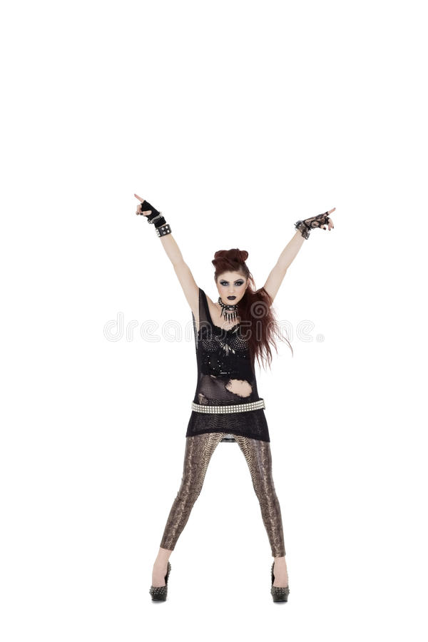 Download Portrait Of A Beautiful Young Woman With Arms Raised Over White Background Stock Photo - Image: 29674456
