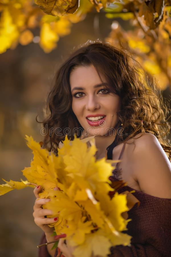A portrait of a beautiful young woman in an autumn forest. Lifestyle, autumn fashion, beauty. stock photo