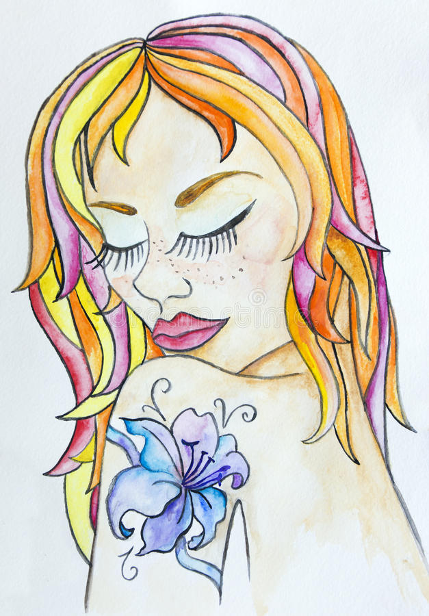 Portrait of beautiful young woman with colorful hair and flower tattoo on her shoulder. Watercolor hand drawn art. Cute royalty free illustration