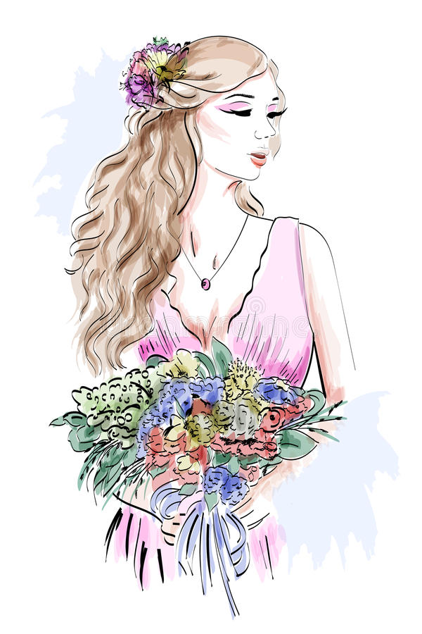 Portrait of beautiful young woman with curly hair and flower wreath. Stylish sketch. royalty free illustration