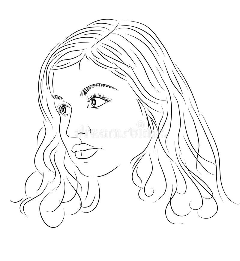 Portrait of beautiful young woman with curly hairs. Sketch style. Line illustration. vector illustration