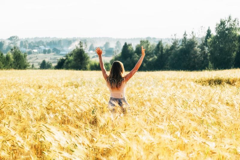Portrait of a beautiful young woman in a dress on the wheat field. Portrait of a beautiful young woman in a dress walking through the wheat field royalty free stock photography