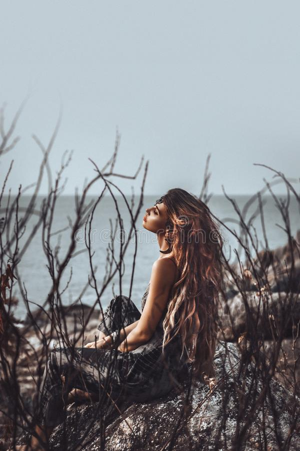 Portrait of beautiful young woman through dry branches outdoors stock images
