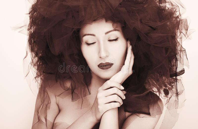 Portrait of beautiful young woman. Fashion photo royalty free stock image