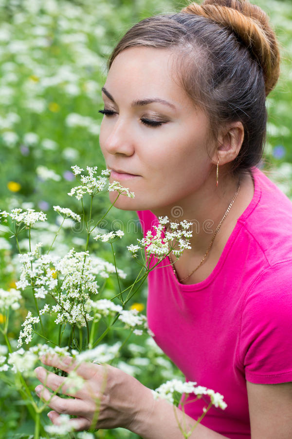 Download Portrait Of  Beautiful Young Woman With Flowers Stock Image - Image: 25766181