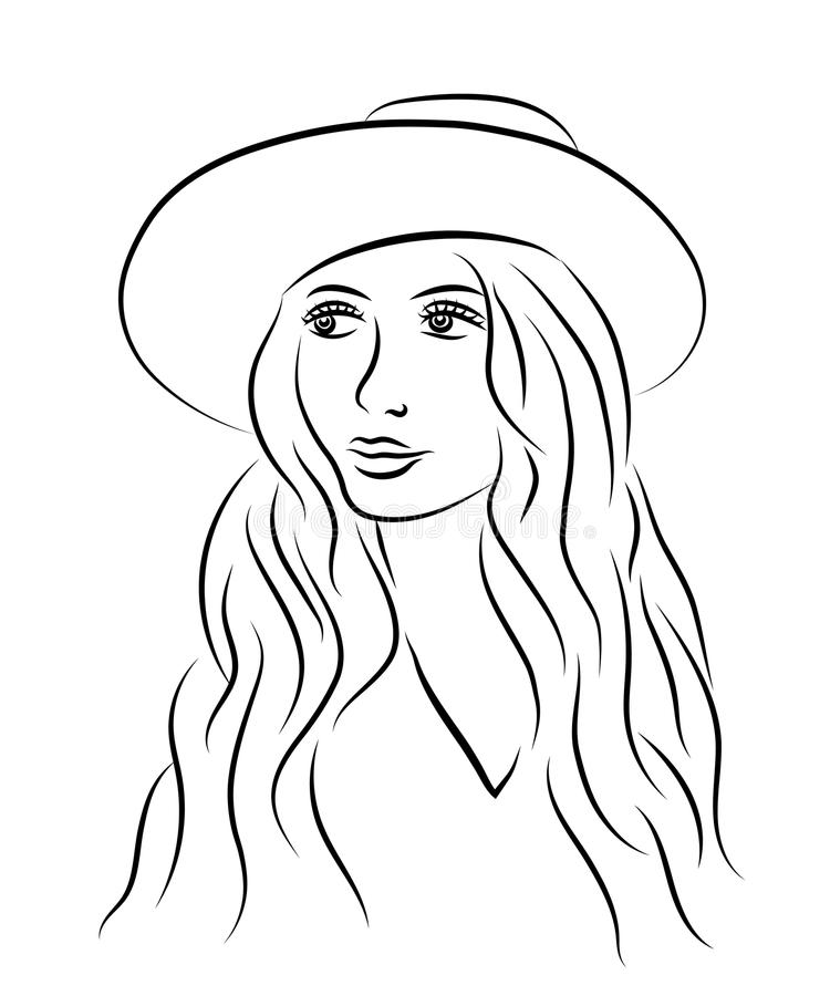 Portrait of beautiful young woman in hat. Sketch style. Line illustration. vector illustration
