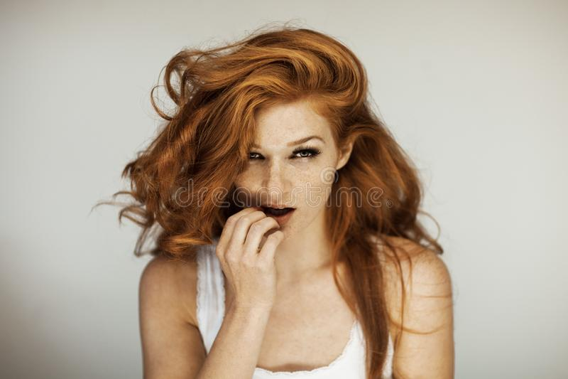 Portrait of a beautiful young woman with long red curly hair and freckles. Perfect make up stock image