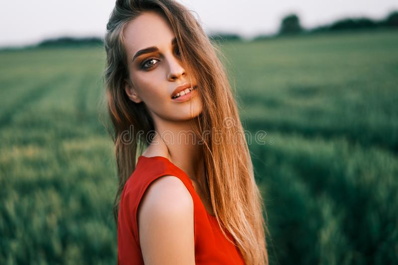 Portrait of beautiful young woman posing outdoors in summer sun royalty free stock photos