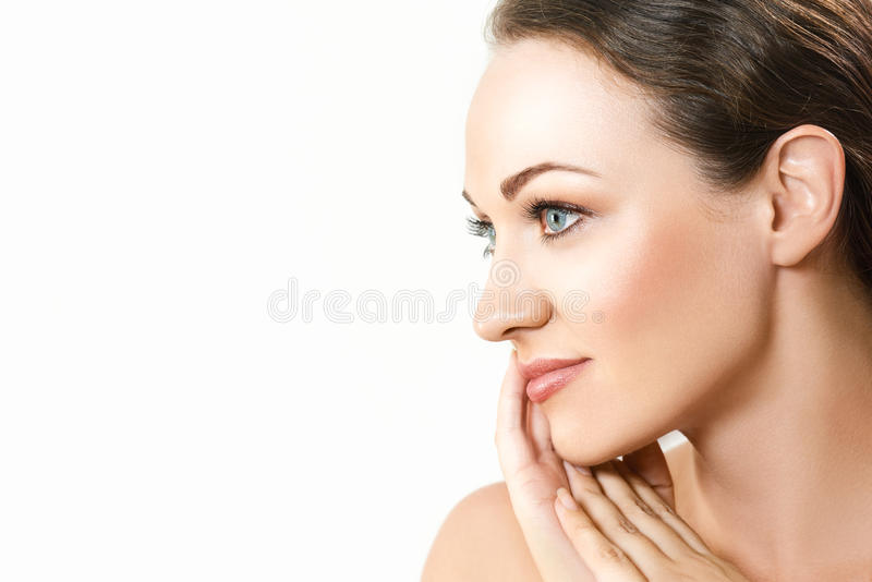 Portrait of beautiful young woman with pretty face. royalty free stock image