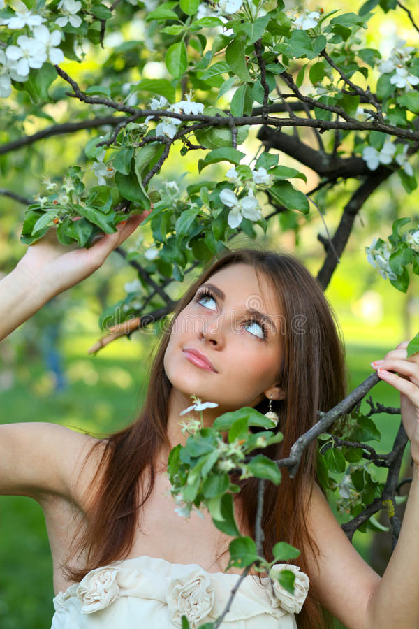 Portrait of beautiful young woman relaxing stock photo