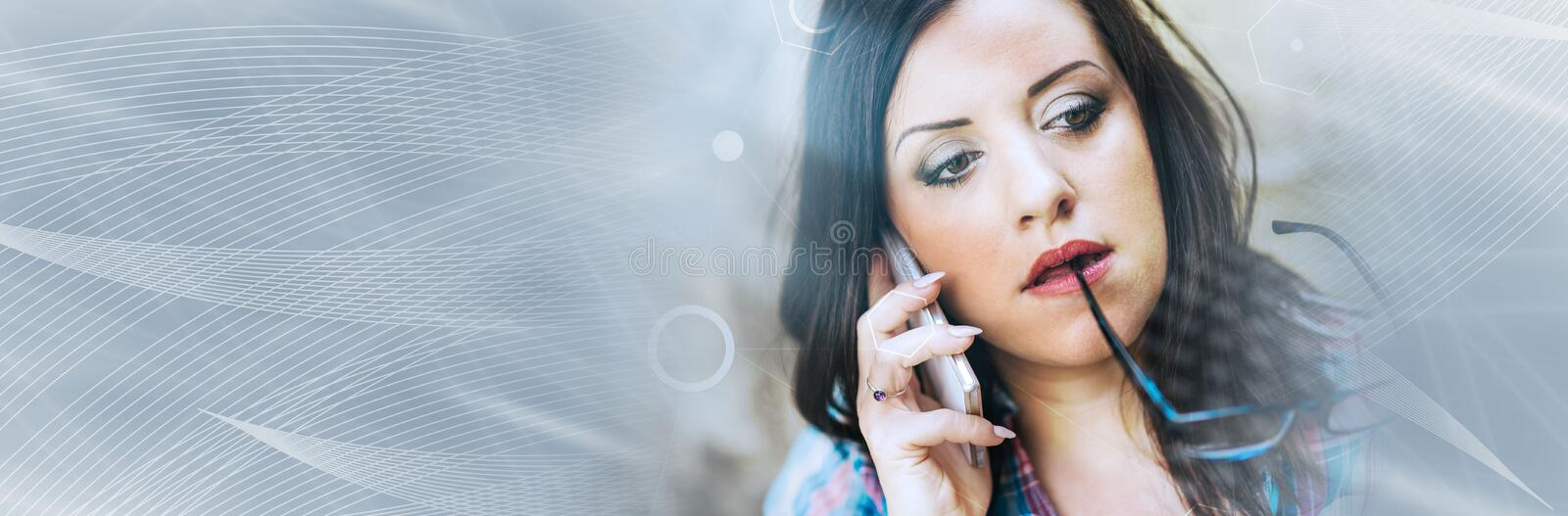 Portrait of beautiful young woman using phone, light effect. panoramic banner royalty free stock images