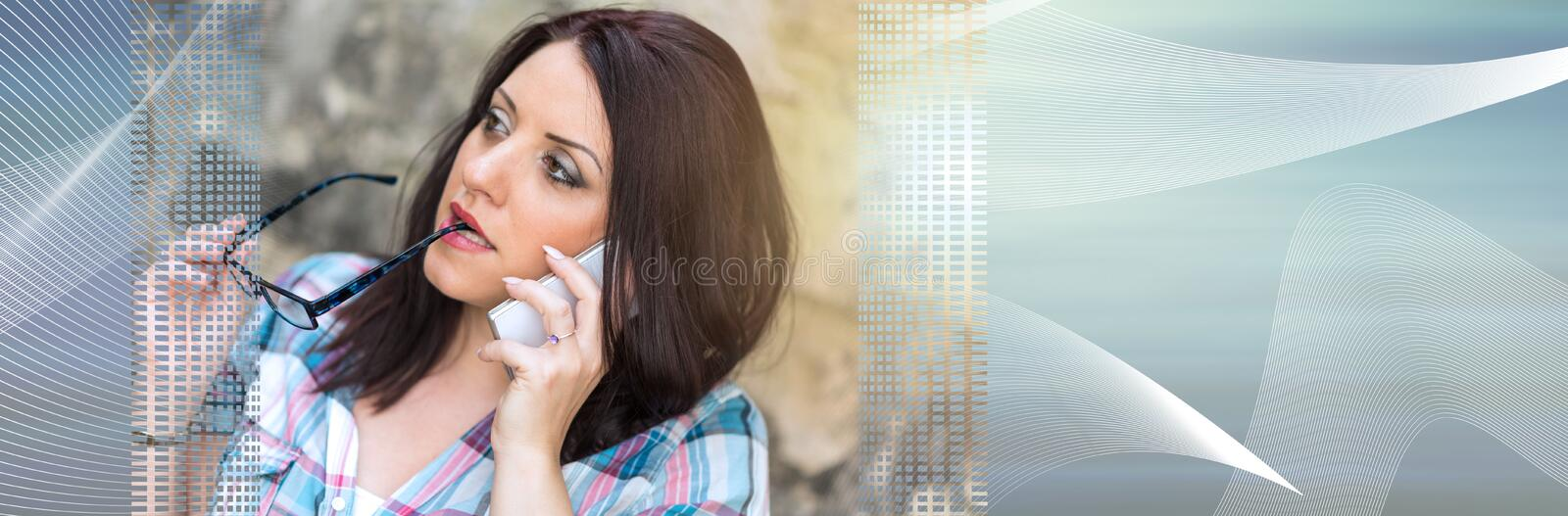 Portrait of beautiful young woman using phone, light effect. panoramic banner stock photo